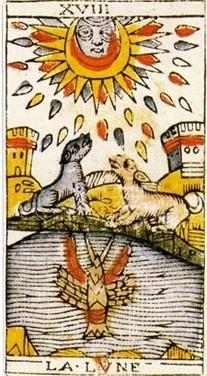 carte de la lune au tarot divinatoire